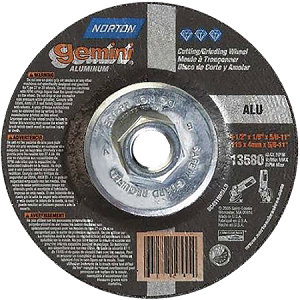 Norton 66252842032 4.5 In. X 1/4 In. X 5/8 In.11 DC4514HGSS Aluminum Oxide GEMINI Type 27 Depressed Center Cut Off, Grinding And Pipe Notching Wheel